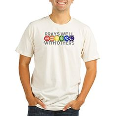 Royal Lion Organic Mens Fitted TShirt Prays Well With Others Peace Symbol  2X -- You can get additional details at the image link.