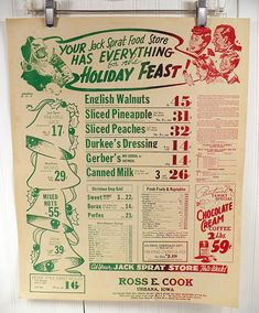 Vintage Grocery Store Poster 1940