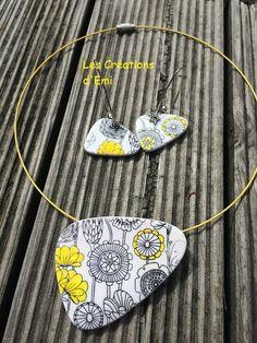 silk screen moiko, pendentif et boucles sérigraphie polymère