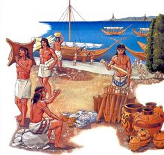 Minoans were traders, & their cultural contacts reached far beyond Crete; to Egypt's Old Kingdom/ to copper-bearing Cyprus/ Canaan/ the Levantine coasts beyond/ & to Anatolia. In late 2009, Minoan-style frescoes & other Minoan-style artifacts were discovered during excavations of the Canaanite palace at Tel Kabri, Israel, leading archaeologists to conclude that the Minoan influence was the strongest foreign influence on that Caananite city state