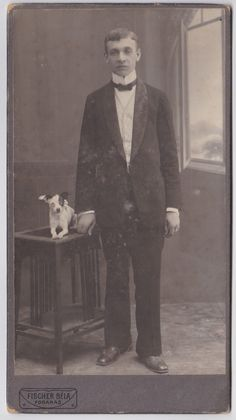 Cabinet Photo 1910's Gentlemen with Jack Russell Terrier dog I in Collectibles, Photographic Images, Vintage & Antique (Pre-1940), Cabinet Photos | eBay