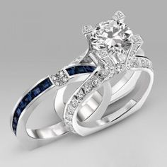 White and Blue Cubic Zirconia 925 Sterling Silver 18K Platinum Plated Women's Wedding Ring Set/Bridal Ring Set
