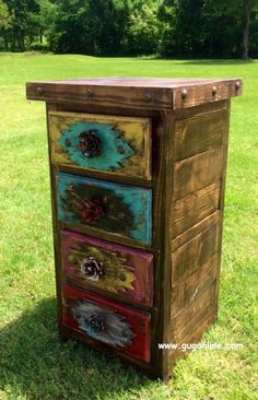 Handmade Rustic Tribal Side Table or Cabinet www.gugonline.com
