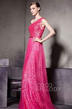 Sparkle Sheath-Column One Shoulder Floor Length Sequin Evening Dress with Sashes COSF1402DCocomelody#promdresses#formalpartydress#