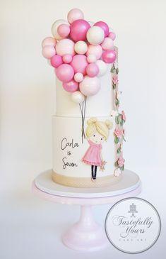 Girl with balloons- Bespoke original design by Tastefully Yours Cake Art