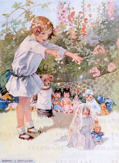 Illustrator: Honor Appleton Her work captures a special magic in childhood in the relationship between a child and toys. Vintage Children's Books, Vintage Postcards, Vintage Art, Vintage Fairies, Art And Illustration, Vintage Illustrations, Vintage Pictures, Vintage Images, Art Jouet