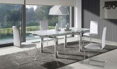Mesa de comedor extensible de cristal Selena
