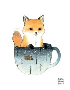 Art Print Fox in a Teacup 8x10 by TwoBlackCatsStudio on Etsy https://www.etsy.com/listing/179738847/art-print-fox-in-a-teacup-8x10