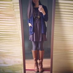 Fall outfit: bcbg dress + cozy sweater + boots