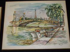 Vintage 6 Mid Century Print Boards Plaques Ray Pierlot Paris Street Scenes