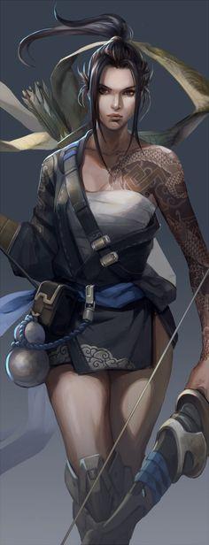 Hanzo - More at https://pinterest.com/supergirlsart/ #female #girl #hanzo…