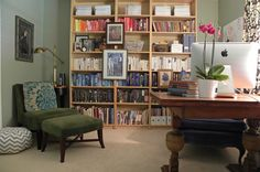 """I could keep by cookbooks in there as well as my everyday """"office"""" stuff.  Love the idea of a reading/study kind of room for me!   eclectic home office by Sarah Greenman"""