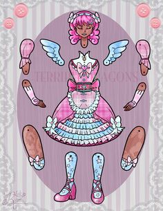 Articulated Paper Doll - Sweet Angel Sister, via Etsy.