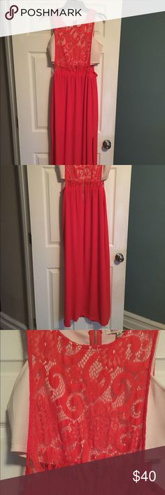 Beautiful Bandeau lace  Maxi dress Reddish Orange Maxi dress chiffon material on bottom. Only wore twice in awesome condition jealous tomato Dresses Maxi