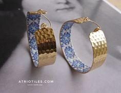 "Portugal Antique Azulejo Tile Replica LARGE HOOP Earrings - Church of Mercy PoRTO 1590 - Buried Treasure 2"""