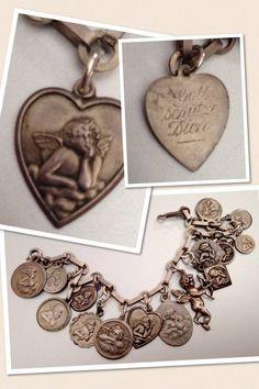 Antique Art Nouveau Silver & Enamel Raphael's Angel Heart Cupid Cherub Charm