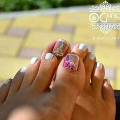 Don't forget about your nails! Pretty Toe Nails, Cute Toe Nails, Pretty Toes, Gorgeous Nails, Pretty Pedicures, Toenail Art Designs, Pedicure Designs, Toe Nail Designs, Pedicure Ideas