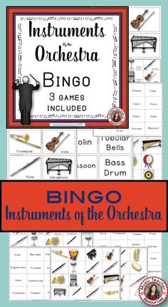 Music Games  |  Instrument Bingo: Instruments of the Orchestra 3 Games in 1  This file contains bingo call cards and playing sheets for THREE different Instrument Bingo sets, each with 46 playing cards and 26 calling cards.  CLICK through to preview!  or save for later    #musiceducation
