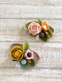 Loopy Fall Flower Handmade Hair-bow With Gems Brown Orange Yellow Autumn New