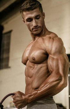 Smooth buffed shirtless hunk with killer PECS and BICEPS. ★ Find more at http://www.pinterest.com/competing/