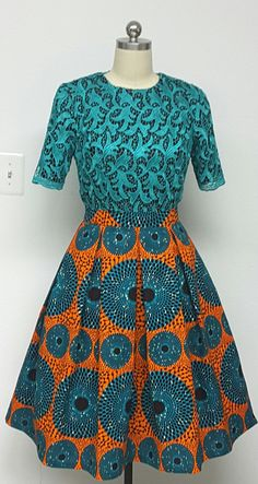 African Print Box Pleated  Skirt  Inside Pockets. by NanayahStudio