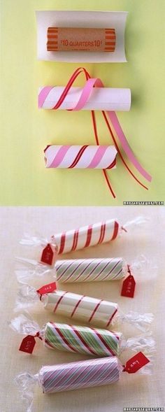 Make Christmas candy decorations using these coin wrappers and some ribbon holiday scrapbook paper