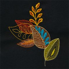 Layered leaves, one of my collections. click the link and zoom in on the embroidery!