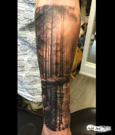 This is Polish Dan – Tattoo artist in York city in the U. Forest Tattoo Sleeve, Nature Tattoo Sleeve, Tattoo Nature, Tree Tattoo Sleeves, Natur Tattoo Arm, Natur Tattoos, Forearm Tattoos, Body Art Tattoos, Tatoos
