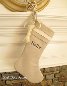 Dog Stocking Personalized Embroidered Name Linen Christmas Stocking - Cuff Top three layers