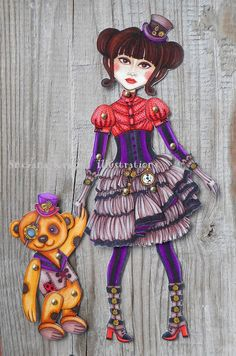 Steampunk and teddybear-Paper doll : Stampati di katy-and-the-cat