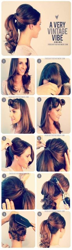 Vintage Hairstyles Retro retro vintage ponytail tutorial - Since a lot of you young fashionistas out there are going back to school in a few days, I'm sure you're looking for things that are quick and easy to do with your looks. Retro Hairstyles, Easy Hairstyles, Wedding Hairstyles, 1950s Hairstyles For Long Hair, Barber Hairstyles, American Hairstyles, Homecoming Hairstyles, Modern Hairstyles, Everyday Hairstyles