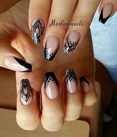 Nails Black Square Nailart New Ideas Henna Nail Art, Henna Nails, New Nail Designs, Pretty Nail Designs, Black Nails, White Nails, Gorgeous Nails, Pretty Nails, Swag Nails