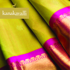 The exquisite combination of colours  Exquisiteness sometimes is derived from the contrast of two very exotic colours. Not so common is the use of lime green and magenta, to breathe in freshness and contemporary style into a traditional pattern. The twill weave used in this gorgeous Kanjivaram lends depth to these colours, making the contrast even more appealing.