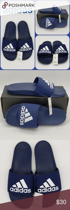 6e05cadfc Adidas Adilette Comfort Slides Blue Sz 11 New! Adidas Adilette Comfort  Slides Blue