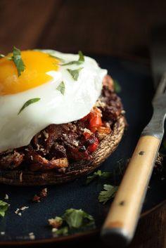 Chorizo Hash Stuffed Breakfast Mushrooms with Egg