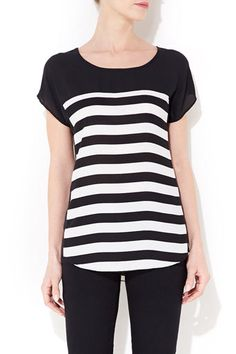 Black And White Striped Tee - Stripes  - Clothing