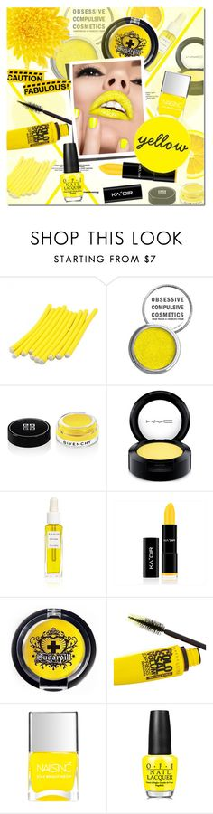 """""""Caution Fabulous!"""" by justlovedesign ❤ liked on Polyvore featuring beauty, Obsessive Compulsive Cosmetics, Givenchy, MAC Cosmetics, Rodin, Sugarpill, Maybelline, OPI, nails and yellow"""