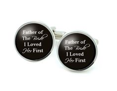 Silver Plated Father of the Bride Cufflinks, Wedding Personalized Initials Cufflinks