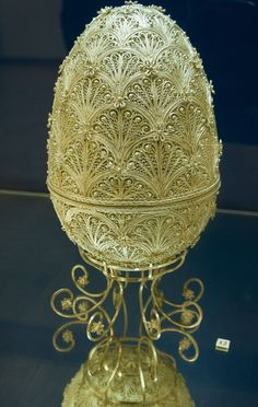 Russian Filigree Egg and Stand