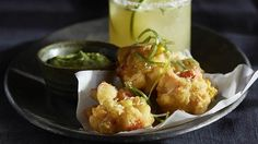 Corn and Krab (Surimi) Fritters with Verde Avocado Salsa Small Plates, Chef Recipes, Fritters, Cauliflower, Salsa, Avocado, Menu, Snacks, Vegetables
