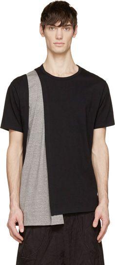 Yohji Yamamoto Black & Grey Inset Drape T-Shirt