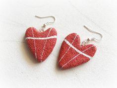 Orecchini a cuore pendenti Cuori rossi Orecchini di Sognoametista