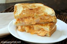 Buffalo Shrimp Grilled Cheese Sandwich Recipe - easy lunch or dinner with hot sauce, shrimp, and veggies!