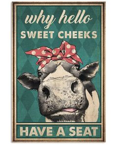 Toilet Room, Sweet Cheeks, Fine Art Paper, Cow, Cushions, Posters, Nice, Products, Poster