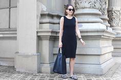 Trini | Gap black dress Adidas duramo slides Celine cabas bag