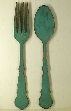 Utensil Turquoise Fork and Spoon Vintage Look Turquoise Fork Spoon Flatware Silverware Kitchen Wall Decor Kitchen Sign Restaurant Decor Big Large Giant Rustic Made with 11 ply cabinet grade Baltic Birch. Our decor differs from most other similar items on Etsy in the fact that we actually Stain the backs of our items and spray a professional quality Pre-Catalyzed Satin Lacquer on all of our Decor for a refined, silky smooth finish. ***** PRICE IS FOR THE SET ***** Size Approx: Fork - 38 x...