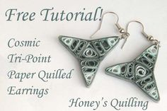 Cosmic Tri Point Paper Quilling Earrings - Free Tutorial