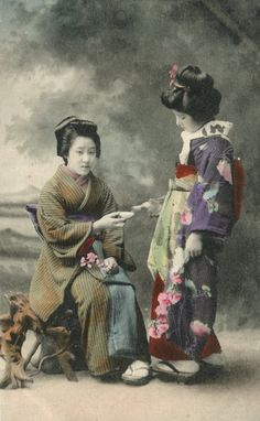 1910, Japan.  Hand-colored postcard