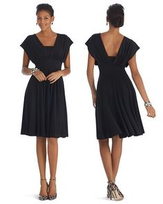 White House | Black Market - Genius Convertible Fit & Flare Black Dress $130