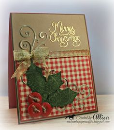 handmade Christmas card ... luv the homespun feel of kraft and red gingham papers ... gold embossed sentiment ... die cut holly leaves with button berries ... luv it!!